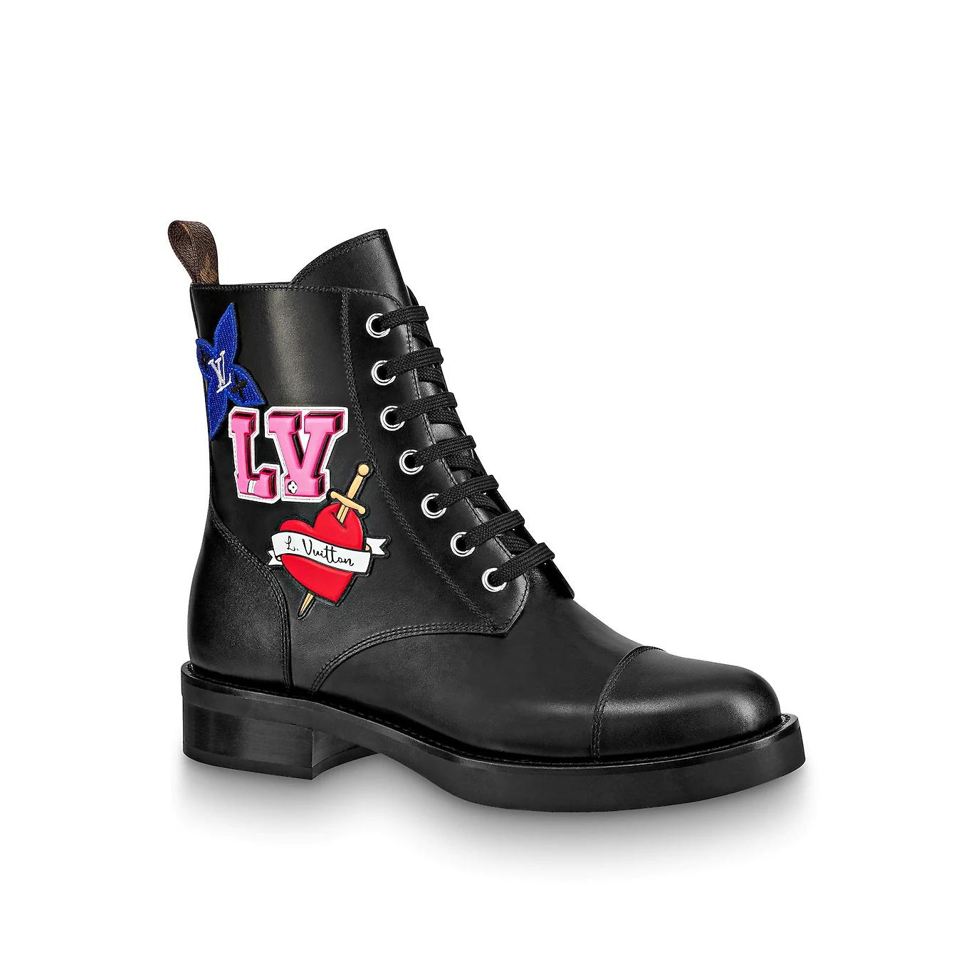 50c2a2dbcb0d LV BLACK HEART FLAT RANGER. Boots   Booties